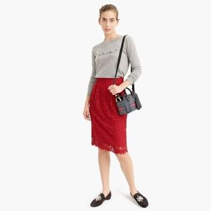 J. Crew Pintucked pencil skirt in Lace